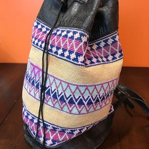 Vintage Guatemalan woven and leather backpack